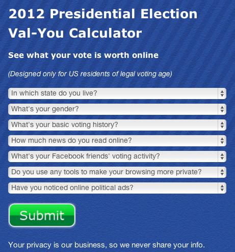 2012 presidential election vote value calculator