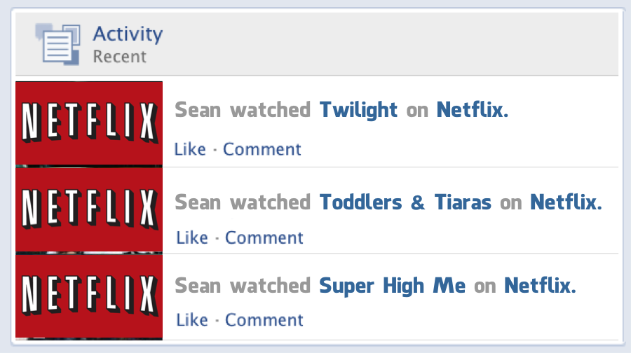 Netflix frictionless sharing on Facebook