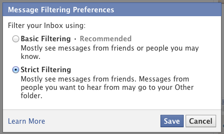 Facebook strict filtering