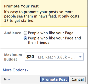Facebook promote post
