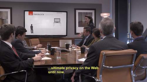 Maeby presenting Fakeblock to investors