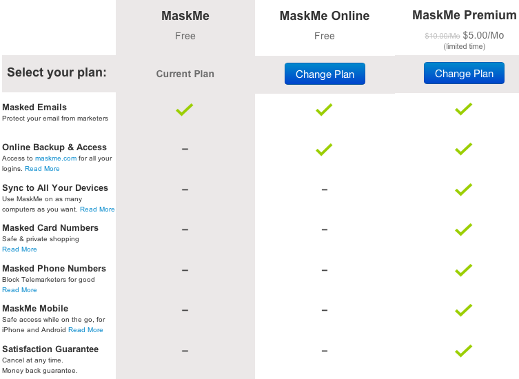 MaskMe plans and pricing
