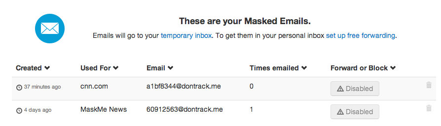 Masked Email dashboard