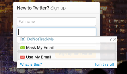 twitter DoNotTrackMe email masking