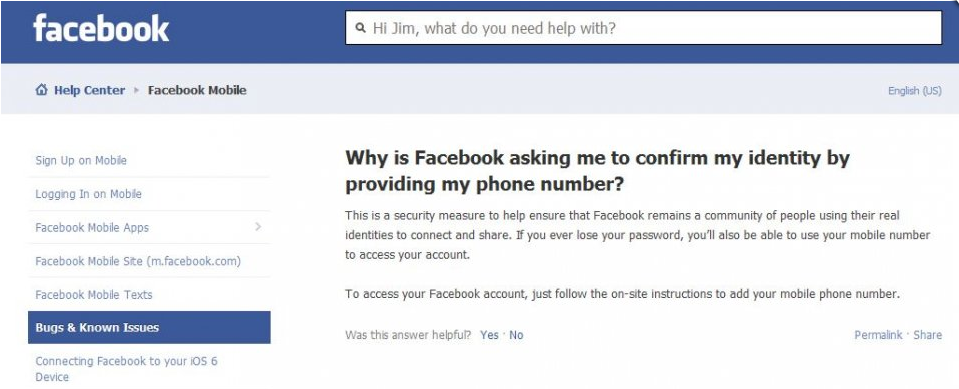 facebook asking for phone number